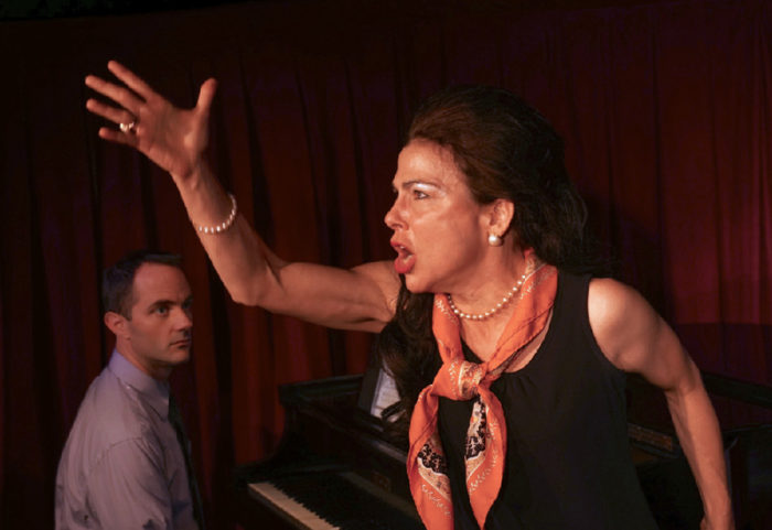 """As Callas in """"Master Class"""" at MTC in Westport with Kevin Winebold as Manny."""